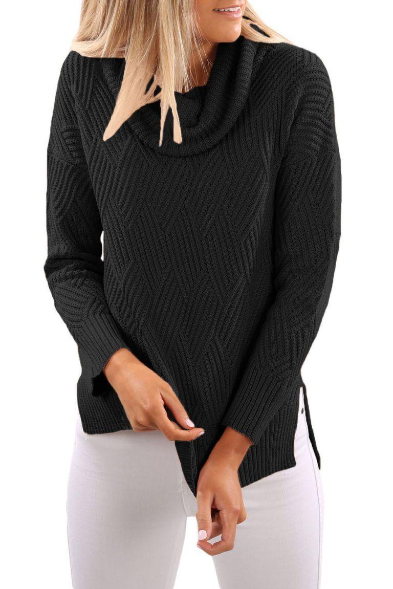 4bcfe83ad340 Pulover dama cu guler inalt negru simplu tricotat Iti recomandam acest  produs daca vrei si tu sa iti reinnoiesti garderoba. Cauti modele de  pulovere dama ...