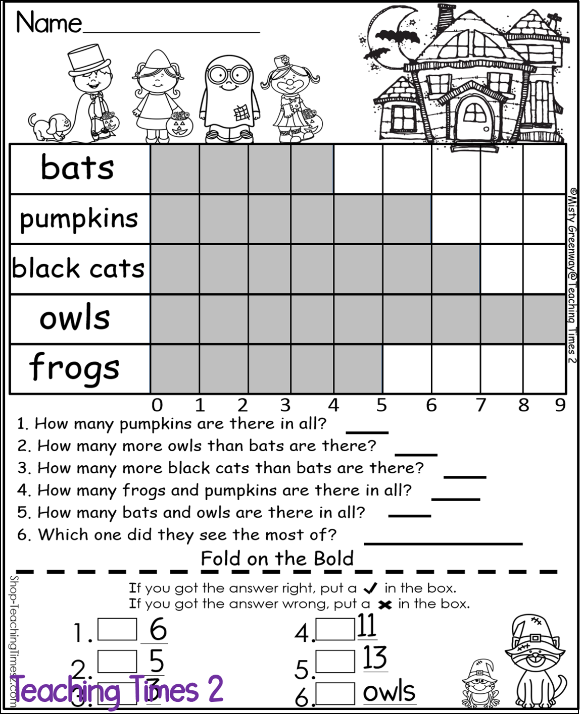 worksheet Halloween Graphing october fold on the bold 2nd grade self checking math and bar graphing check practice halloween fun from