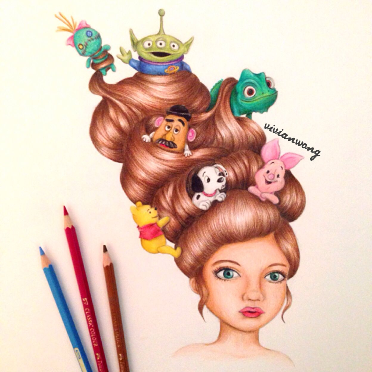 Art color hair - Disney Hair 2 Colouring Pencil Find Me At Http Www