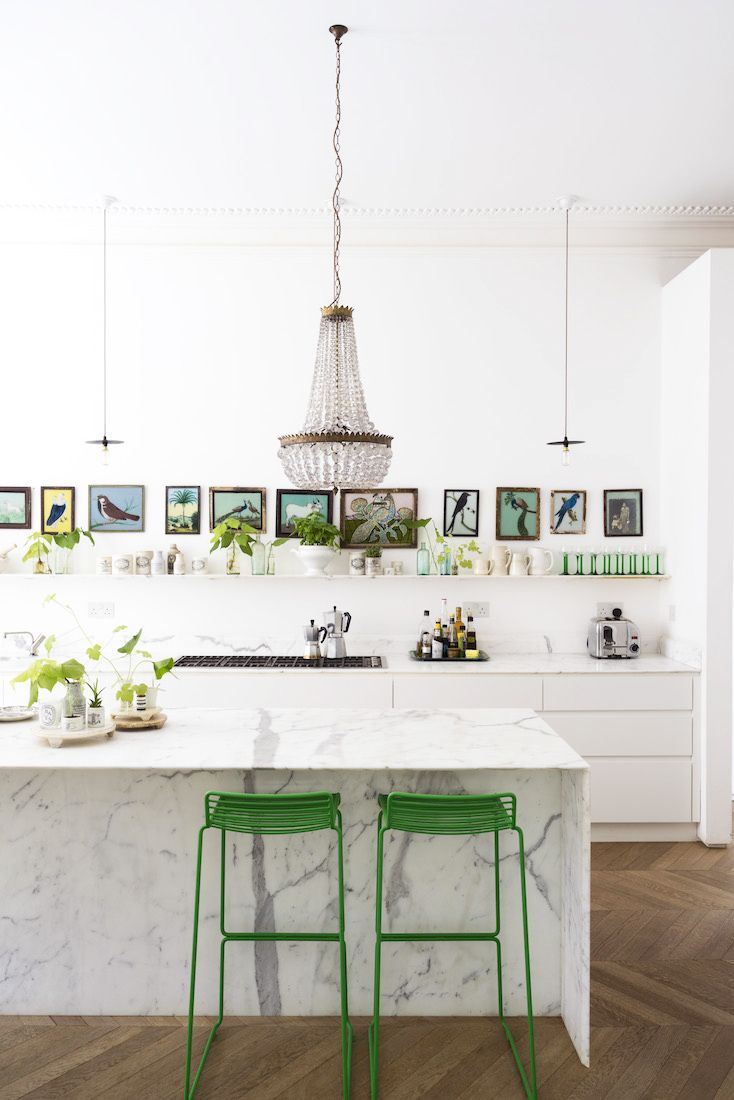 A Green & White Scandinavian Home | Bar, On and Bar stools