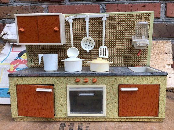 Vintage Child\'s Kitchen set. Kitchen stove and Toy Dishes ...
