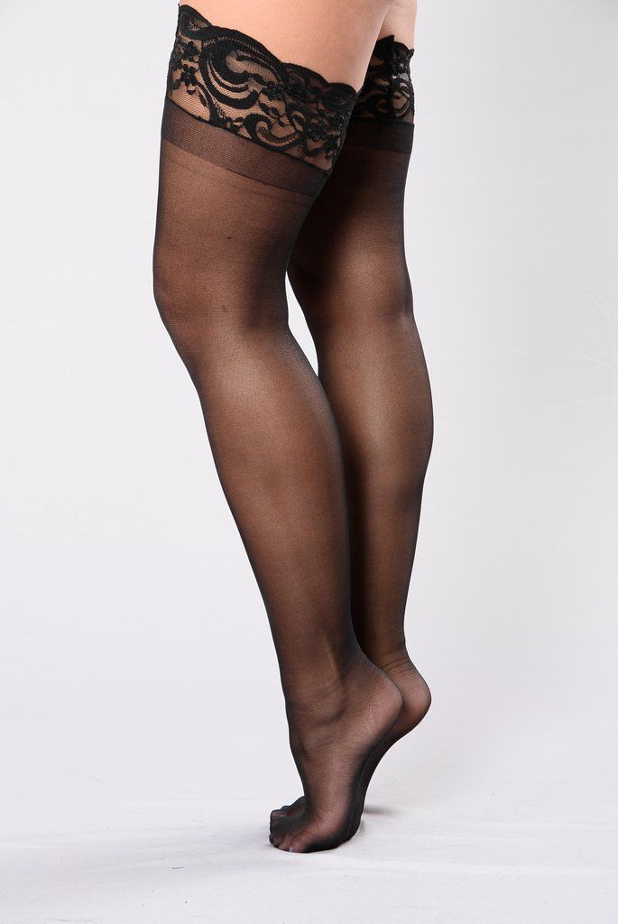 ed99d95383a Sheer Thigh High Lace Top Stocking - Black
