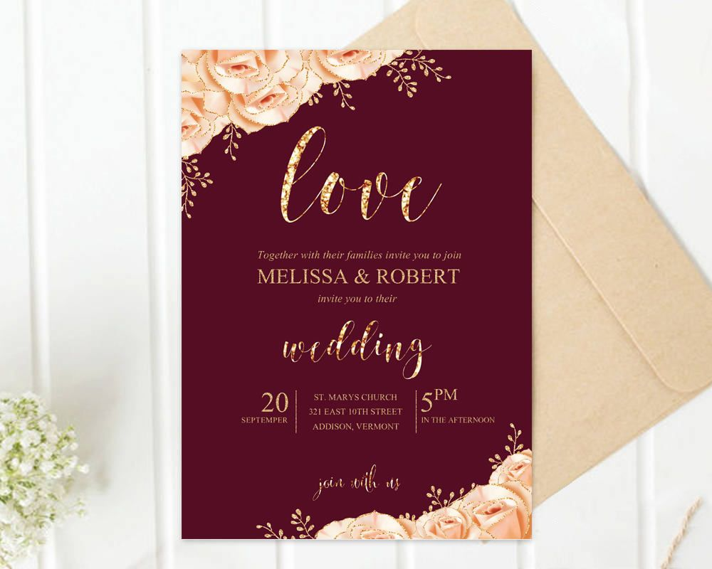 Printed Wedding Invitation, Gold Roses Glitter, Champagne and ...