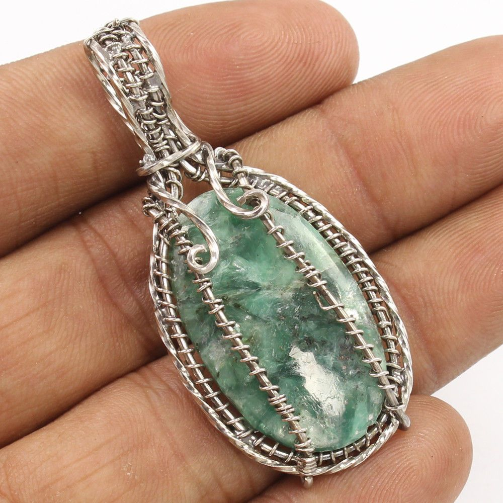 Wire Wrap 925 Sterling Silver Indian Jewelry Pendant Natural GREEN KYANITE Gems #Unbranded #Pendant