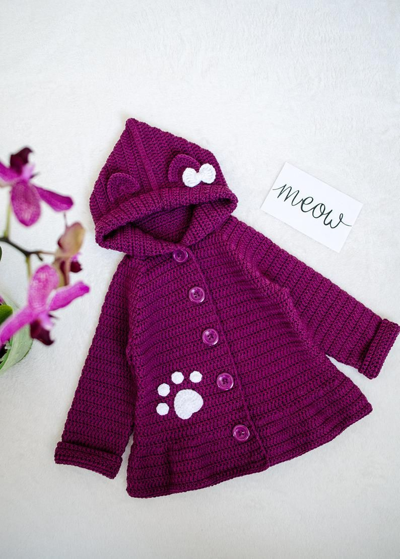 Crochet cat ears cardigan with hoodie Cute wooly outerwear