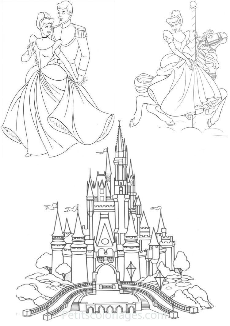 Petits coloriages cendrillon chateau prince manege disney pinterest cendrillon - Chateau disney dessin ...