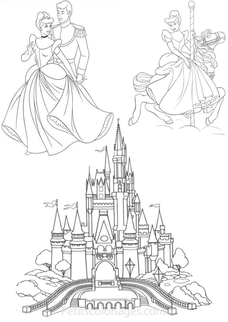 25 coloriages cendrillon chateau, prince, manège sur