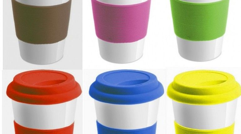 Unique Ceramic Travel Mug With Silicone Lid And Sleeve