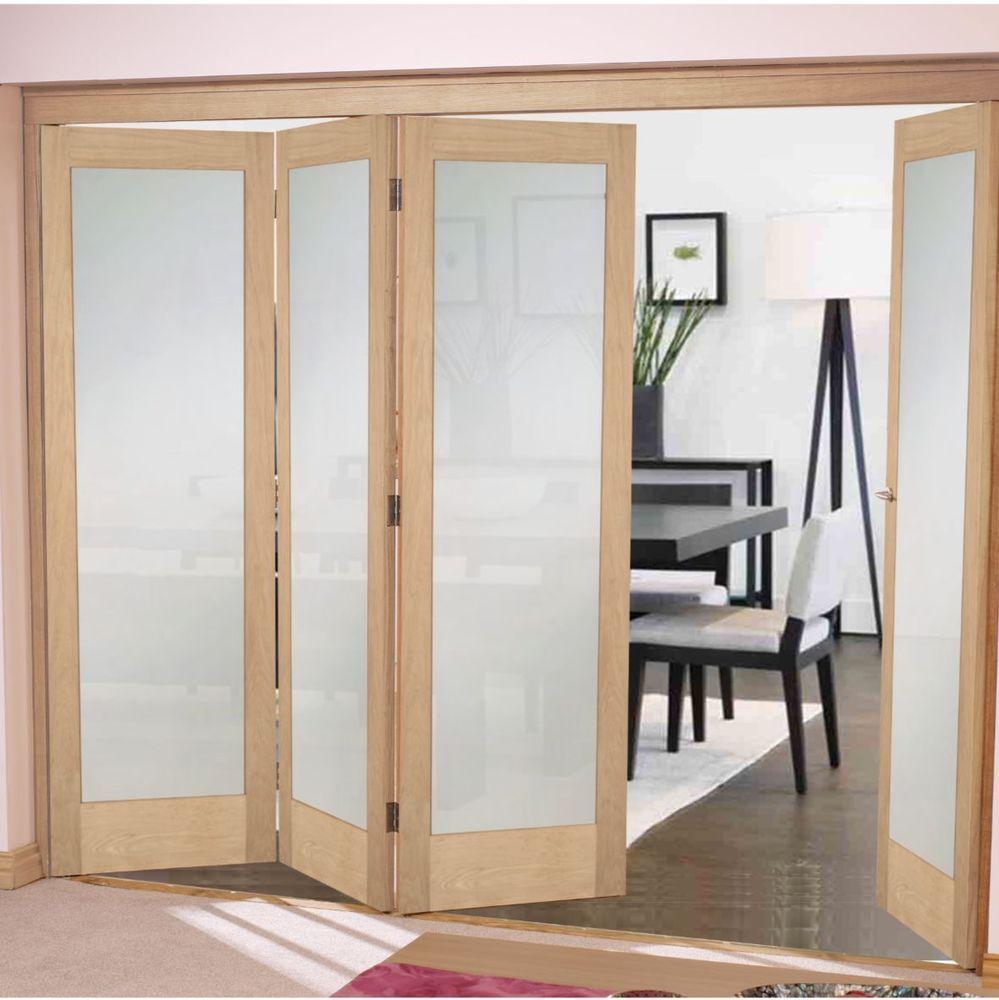 Shaker 1 Light Frosted Bifold Doors Oak Frosted Internal Bifold Door System Bifold Doors Internal Glass Doors Folding Glass Patio Doors