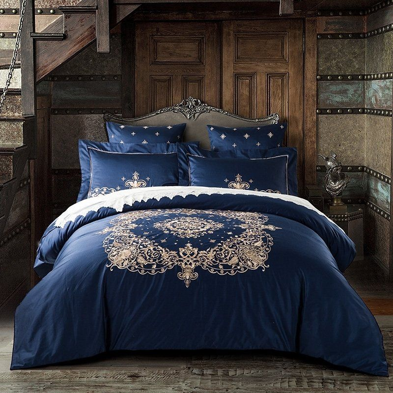 Luxury Midnight Blue And Gold Indian Bohemian Chic Royal Style Embroidered 100 Egyptian Cotton Full Quee Luxury Bedding Luxury Bedding Sets Bed Linens Luxury