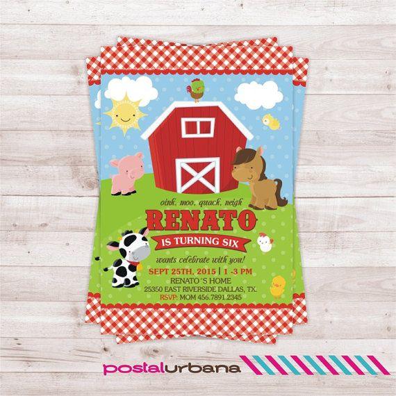 Invitación Granja Invitacion Animales Fiesta De