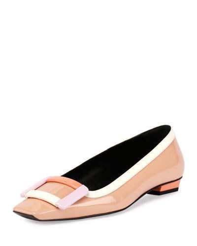 ROGER VIVIER Belle Vivier Patent Buckle Flat, Multi Nude. #rogervivier #shoes #flats