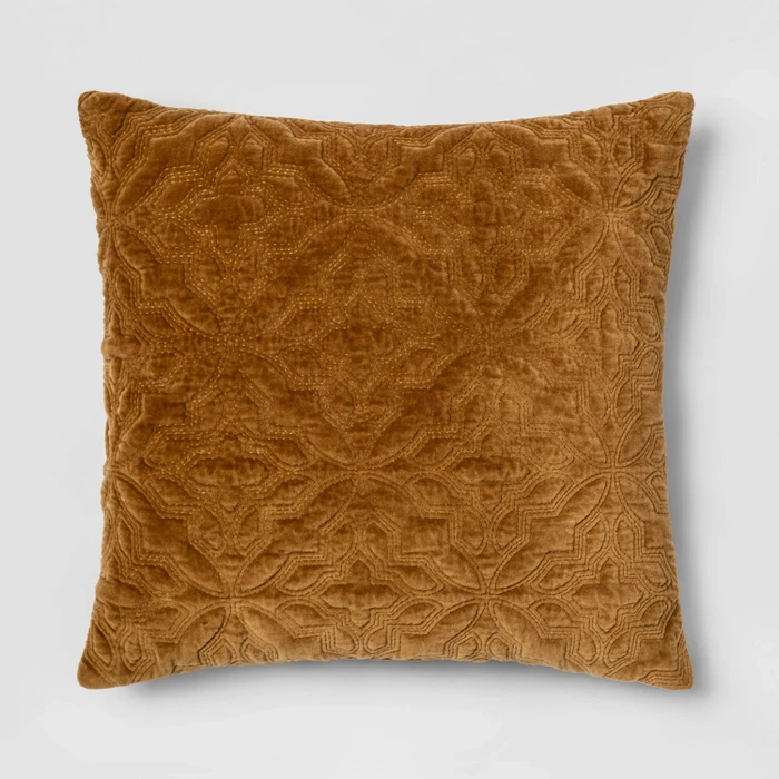 Square Embroidered Velvet Decorative Pillow Caramel Threshold Target Throw Pillows Orange Throw Pillows Velvet Throw Pillows