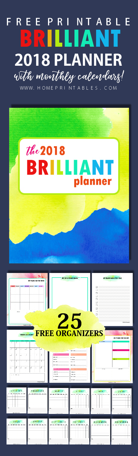Free Monthly Planner 2018 with Calendars