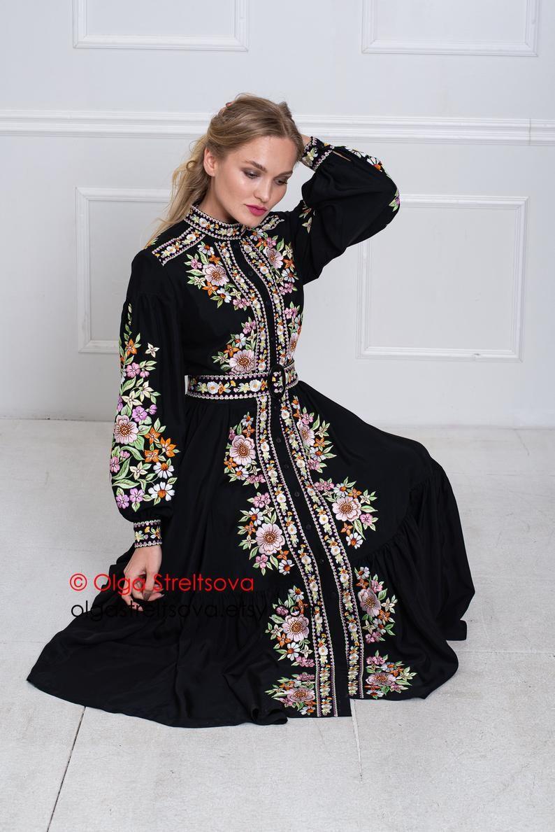 Embroidered Dress Black Dress Summer Dress Handmade Dress Floral Midi Dress Black Boho Dress Office Dress Everyday Dress Loose Dress Embroidered Dress Black Boho Dress Dresses [ 1189 x 794 Pixel ]
