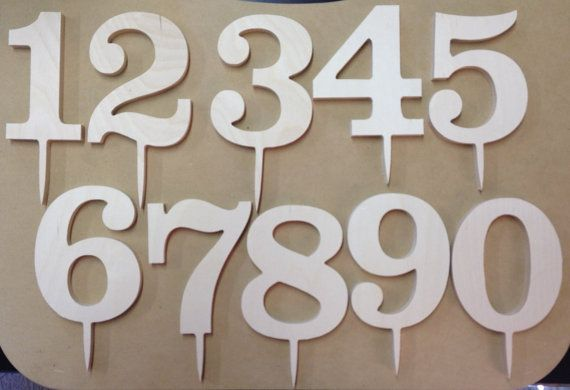 6 Classic Wooden Numbers Cake Topper Birthday By Scrappinplus 200