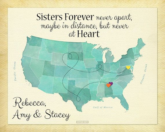 Long Distance Sister Gift, Sisters US Map Art, Sisters Forever