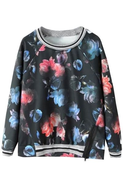 Vintage Floral Print Black Sweatshirt