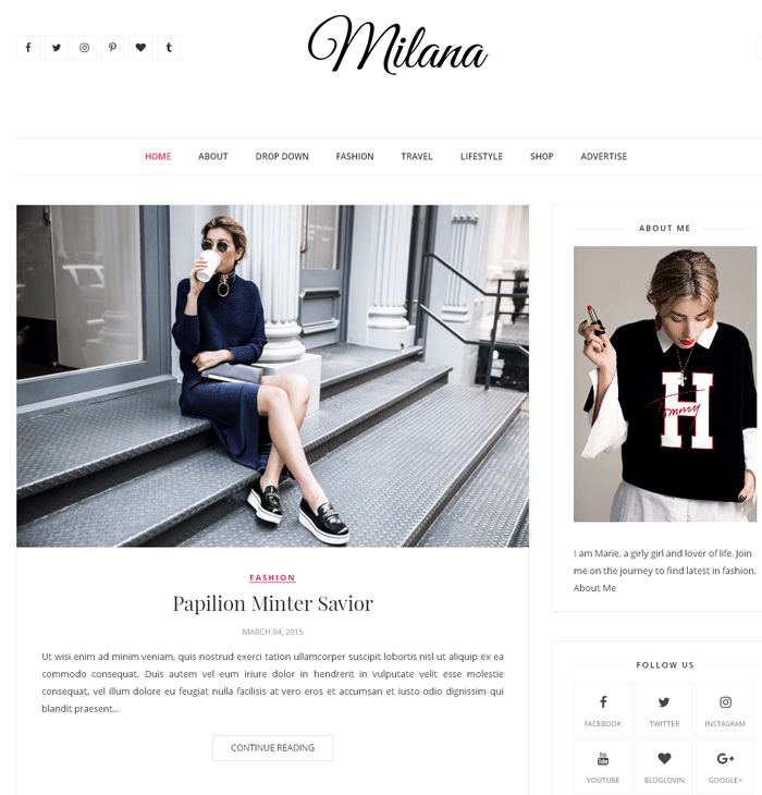 Milana Fashion Blogger Template Here Is Another Free Responsive And Seo Friendly