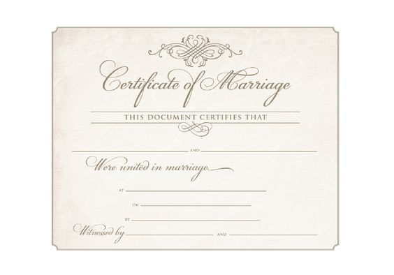 Download Blank Marriage Certificates  Printable Wedding
