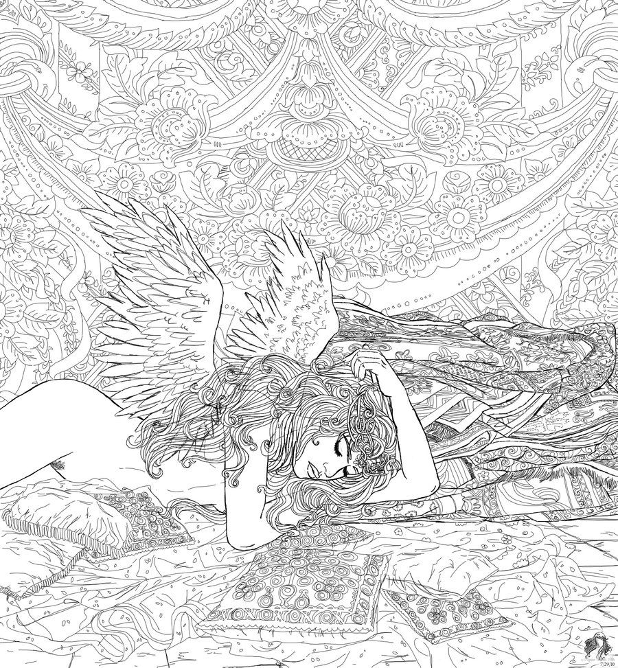 Coloring Books Distinctly Female By Regina35nocis On DeviantART Angel Fantasy Myth Mythical Legend Wings
