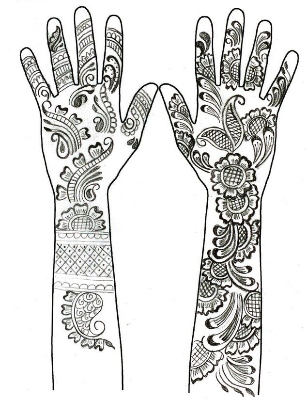 Henna hand tattoos mandalas such pinterest henna hands for Henna coloring pages