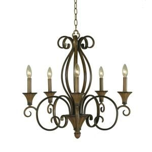 Hampton Bay Chester 5 Light Ceiling Aruba Teak Chandelier