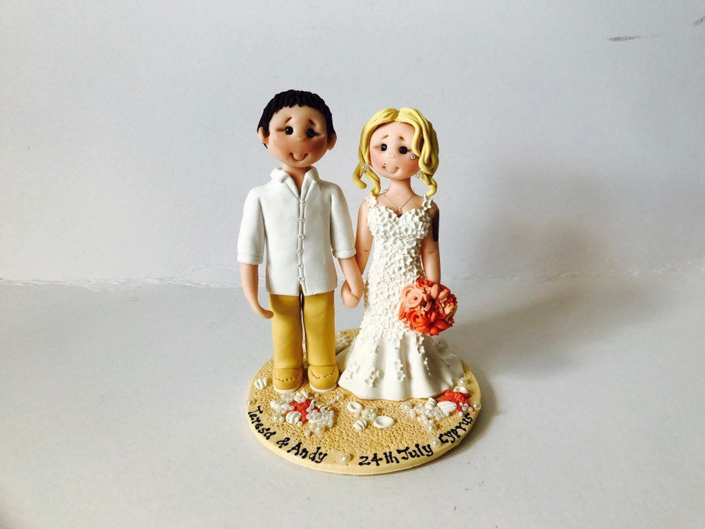 Beach nautical seaside theme wedding cake topper custom