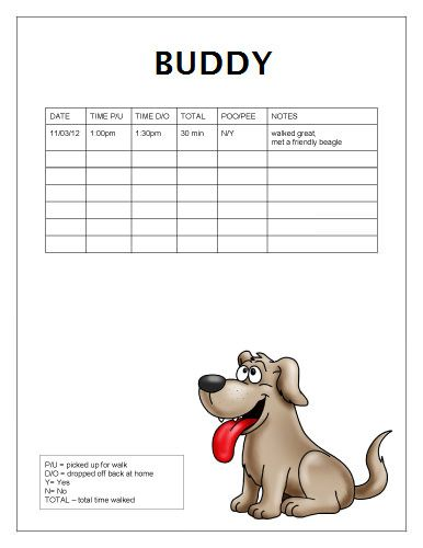 Free DogWalking Log Template Samples Printable ReadyToUse Dog