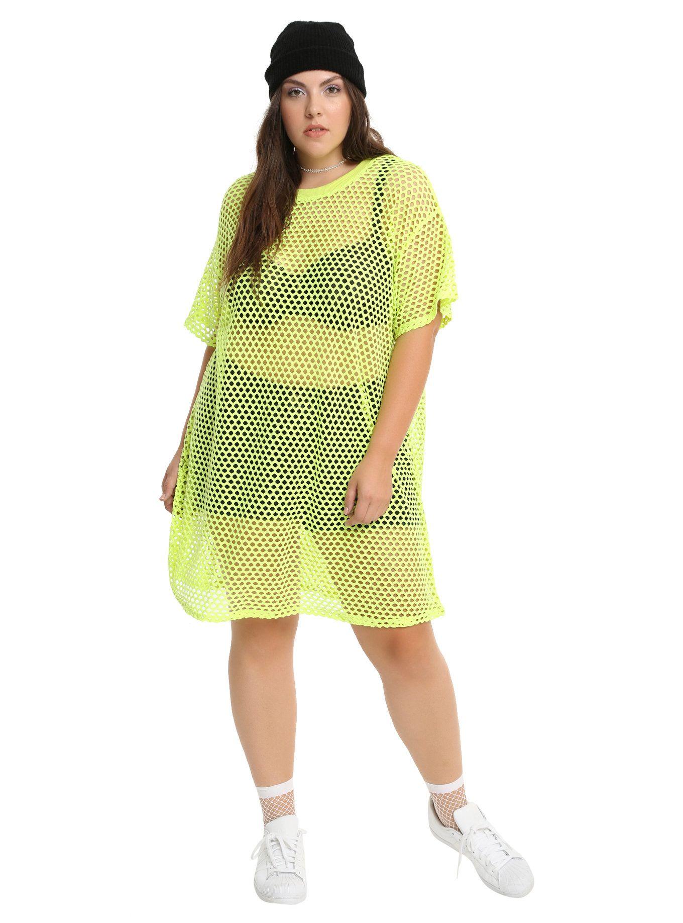 Neon Green Fishnet Dress Plus Size Fishnet Dress Neon Green And