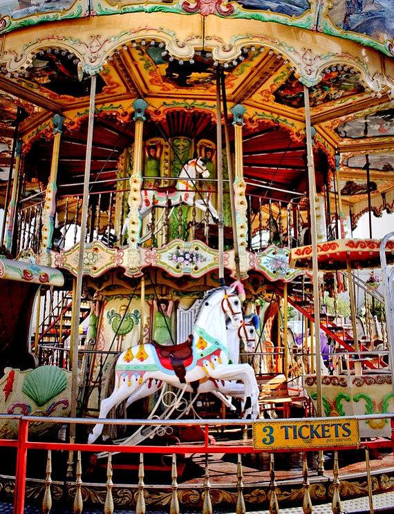 double decker carnival carousel ride fine art photograph print