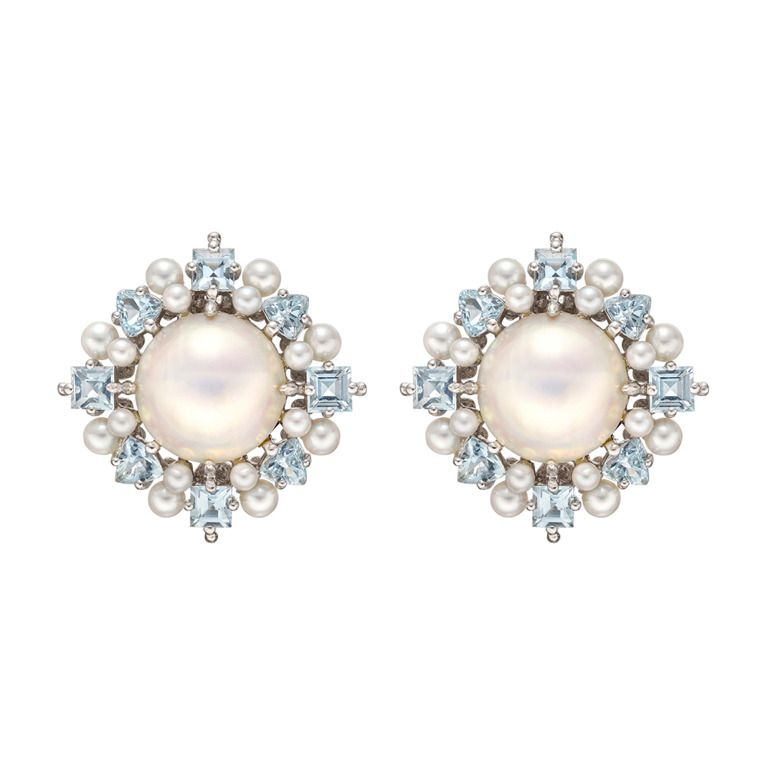Paul Morelli Pearl Aquamarine Cer Earrings From A Unique Collection Of Vintage Stud At