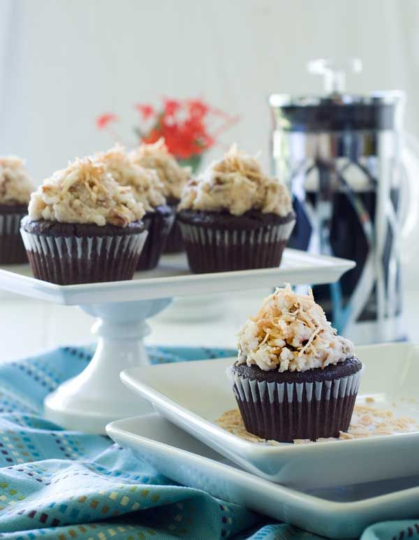 Gluten Free Vegan German Chocolate Cupcakes