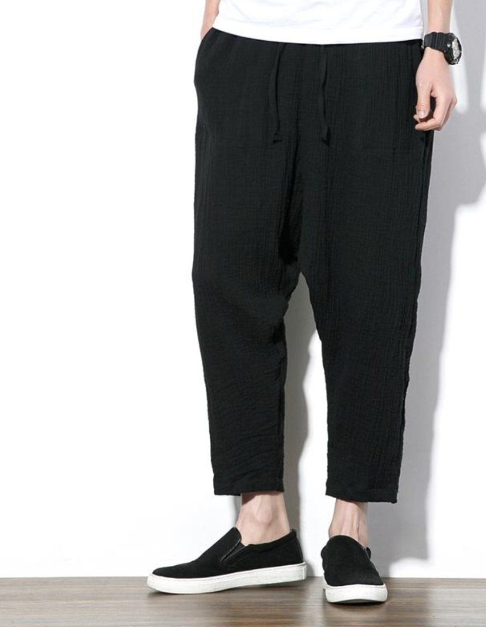 9f0cdd2f1d8c Loose Fit Linen Trousers Sirwal Drop Crotch in Black