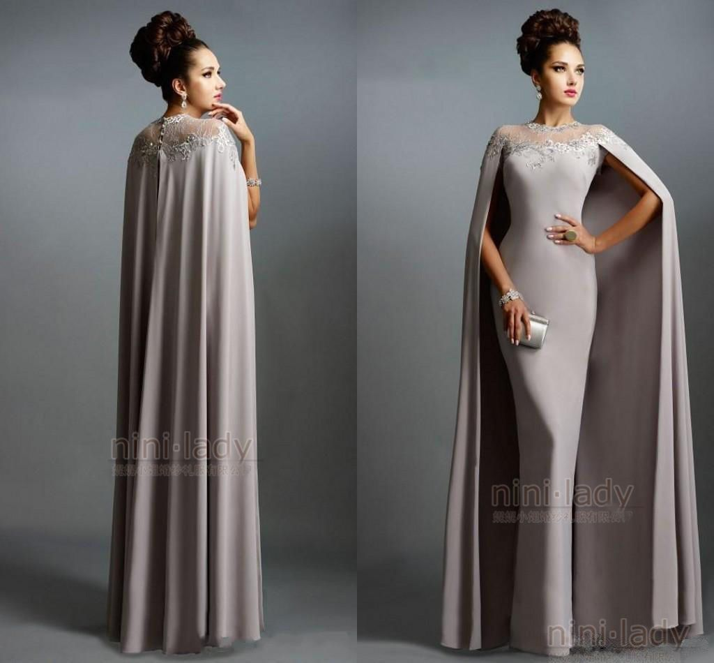 Nice amazing fashion long mother of bride dress with cape muslim