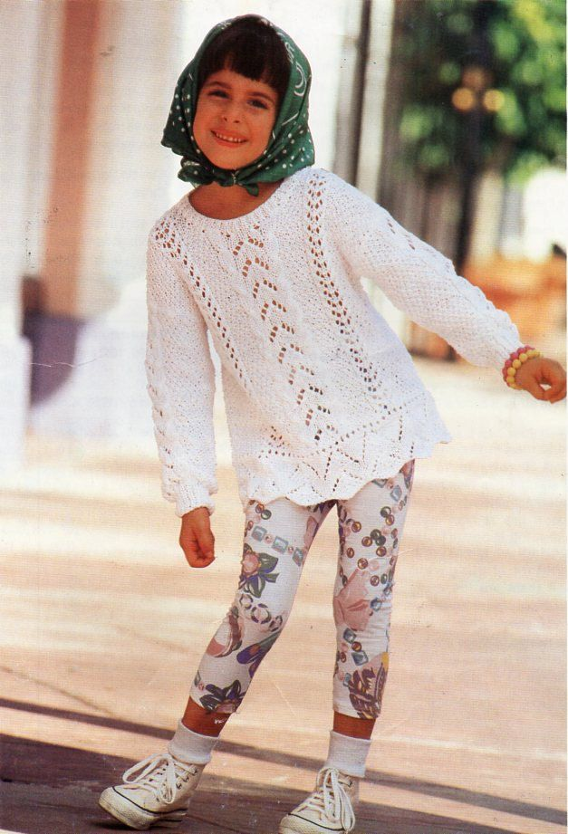 girls lacy cotton sweater knitting pattern pdf DK childrens lacy ...