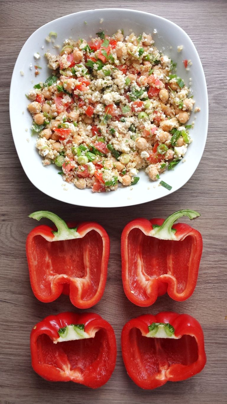 Quinoa Stuffed Red Bell Peppers #stuffedbellpeppers