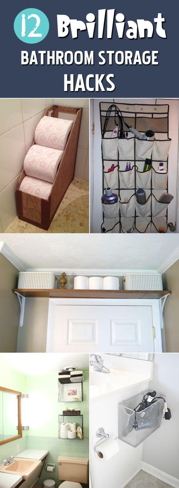 12 Genius Bathroom Storage Hacks Bathroom Storage Hacks Clever