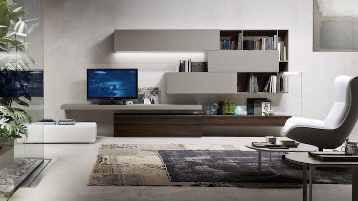 Wohnwand Weiß Blauer Fernseher Bildschirm Teppich Design Deko Idee Regale  Schubladen Sessel Bequem