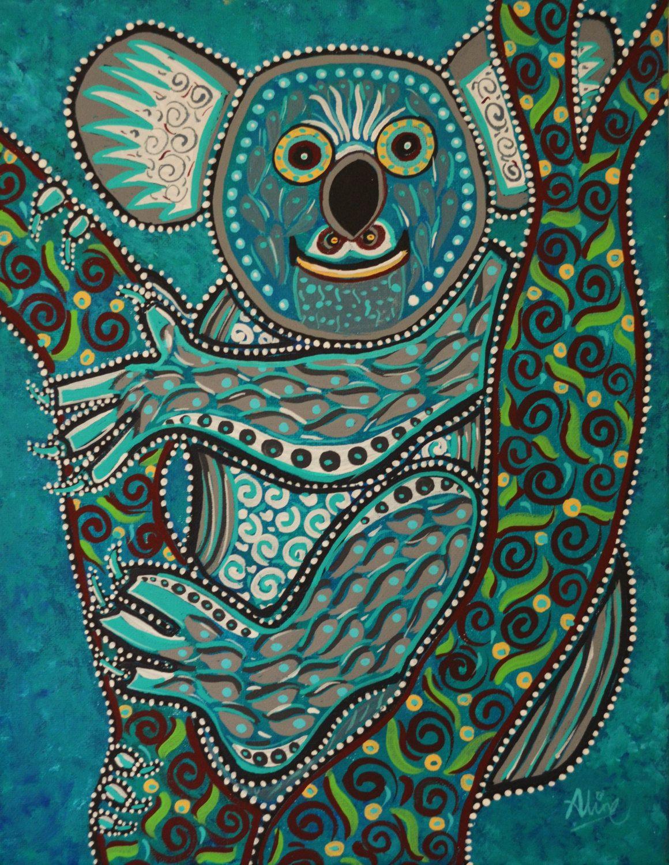 koala bear painting australian artist folk art original 11 u0026quot x14 u0026quot  dreamtimestudios