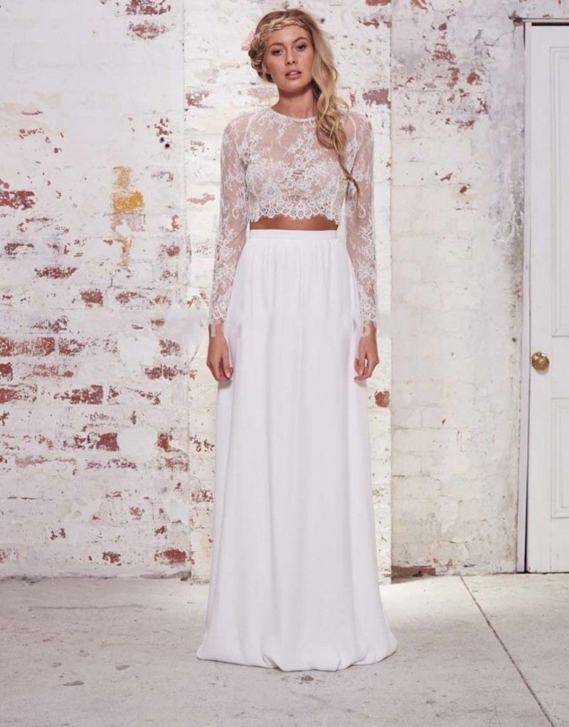 Where to find long sleeve wedding dresses  Click to Buy ucuc Two Piece Long Sleeve Bridesmaid Dresses With Lace O