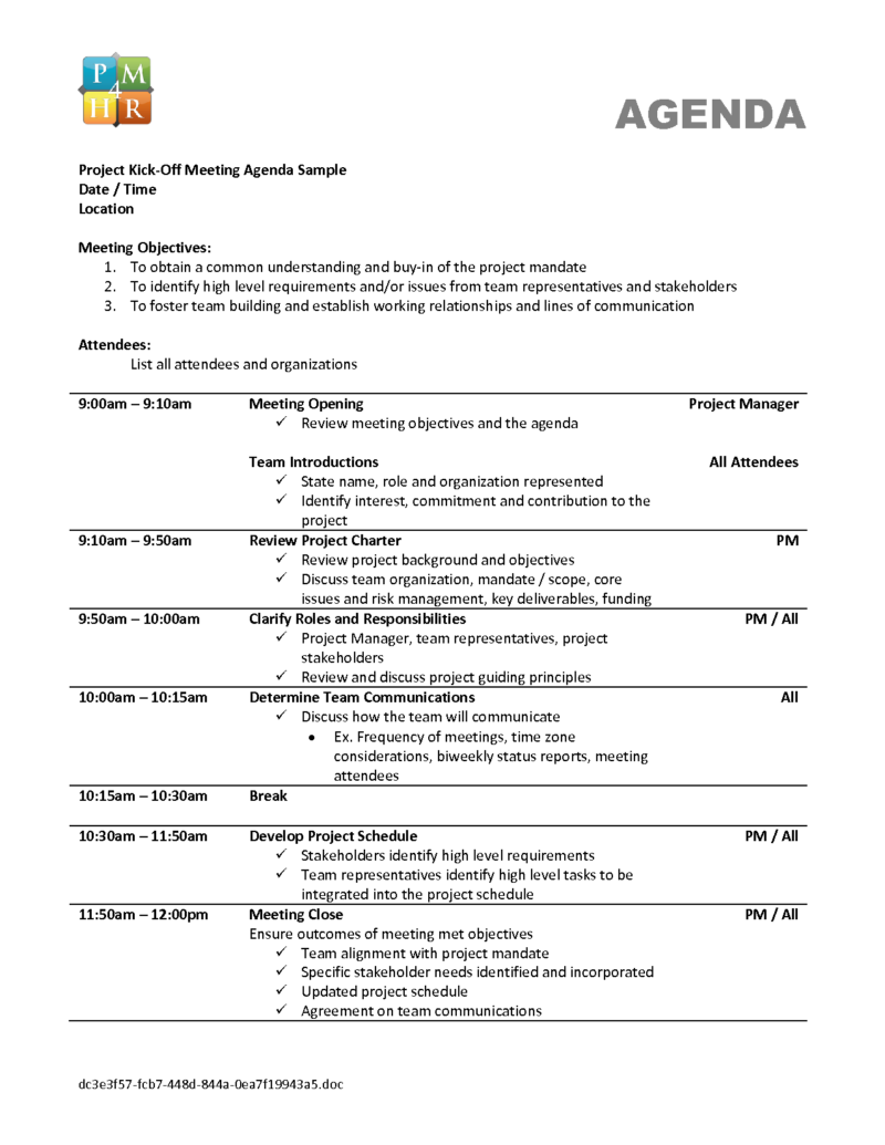 Qualified Agenda Template Sample For Project Kick Off Meeting With