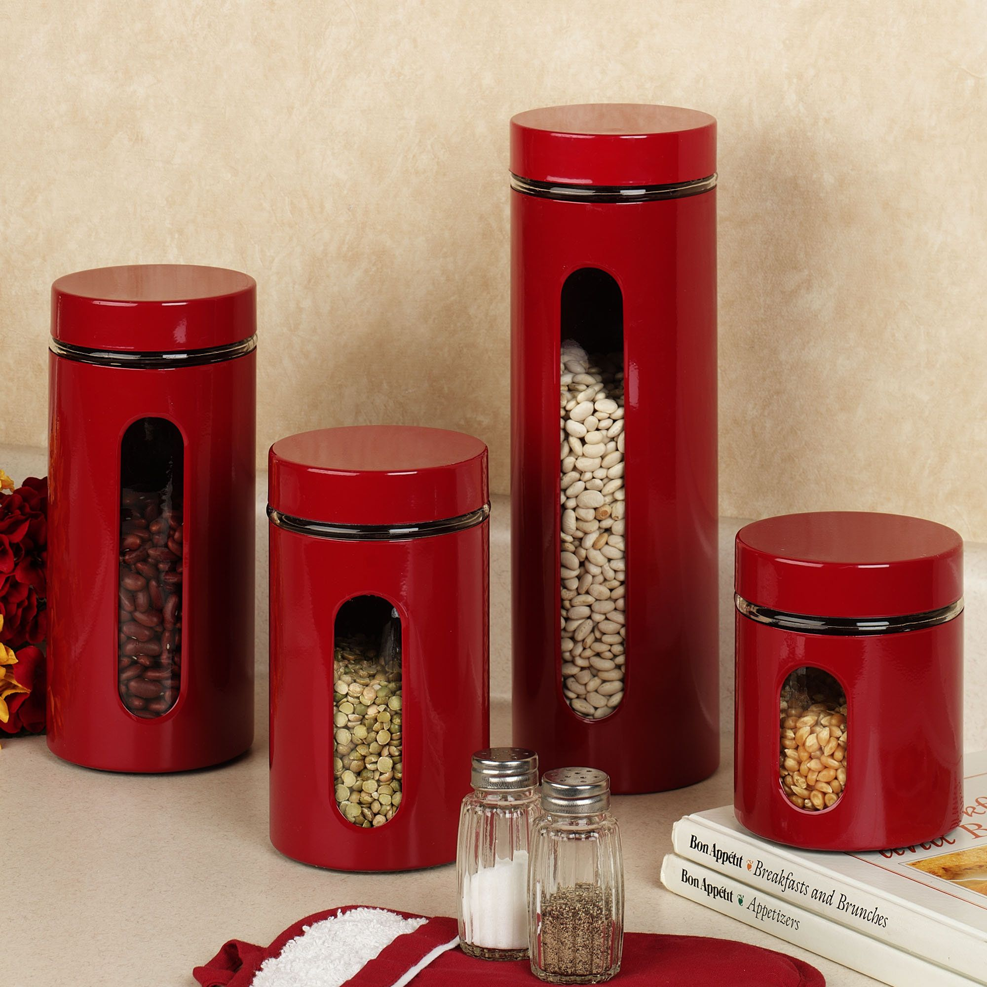 High Quality Palladian Red Window Kitchen Canister Set