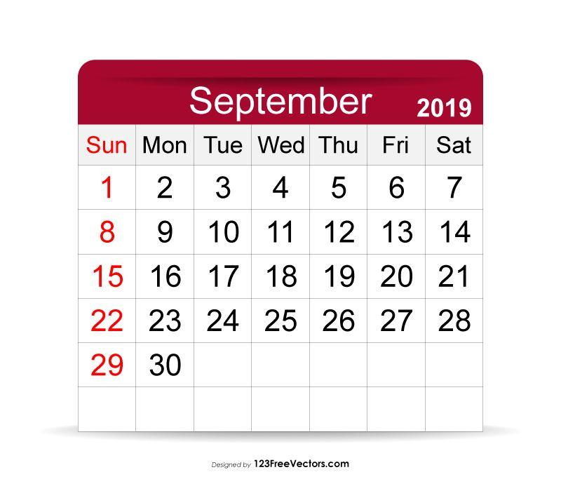 September 2019 Calendar Free Vectors Pinterest 2019 calendar