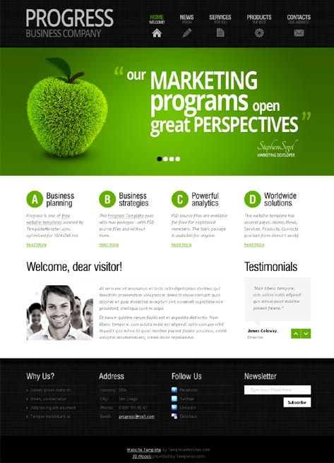 White, black and green template | Web Design | Sample