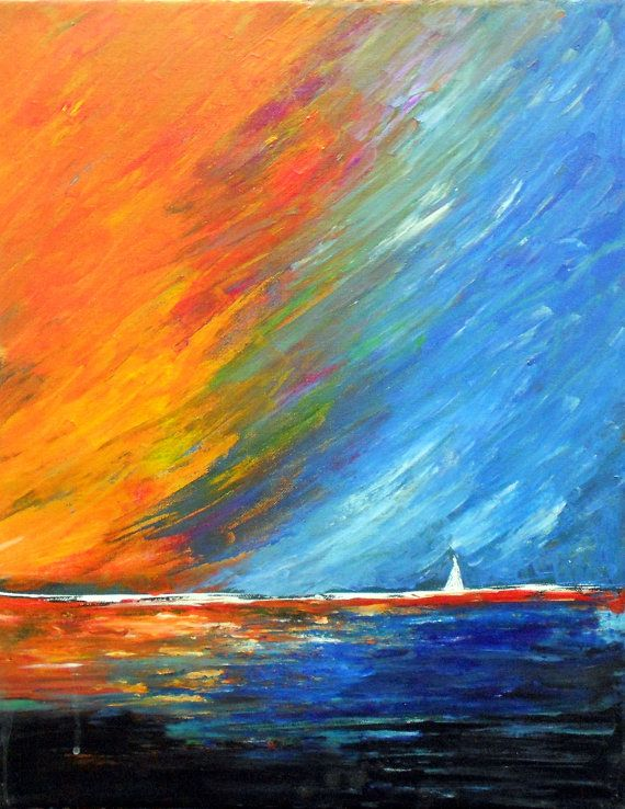 40 Ink Painting Ideas For Inspiration: Original Modern Sailboat Acrylic Painting By