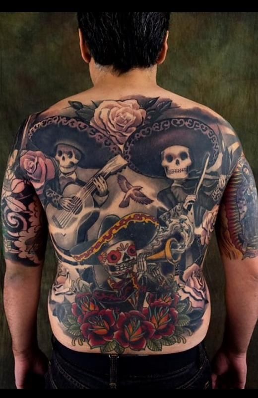 Mariachi Day Of The Dead Kore Flatmo Tattoos Back Tattoo Tattoos Gallery