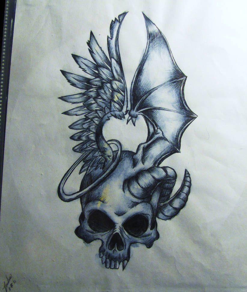 Good And Evil By Darxen On Deviantart Skulls Drawing Tattoo Design Drawings Skull Tattoo Design
