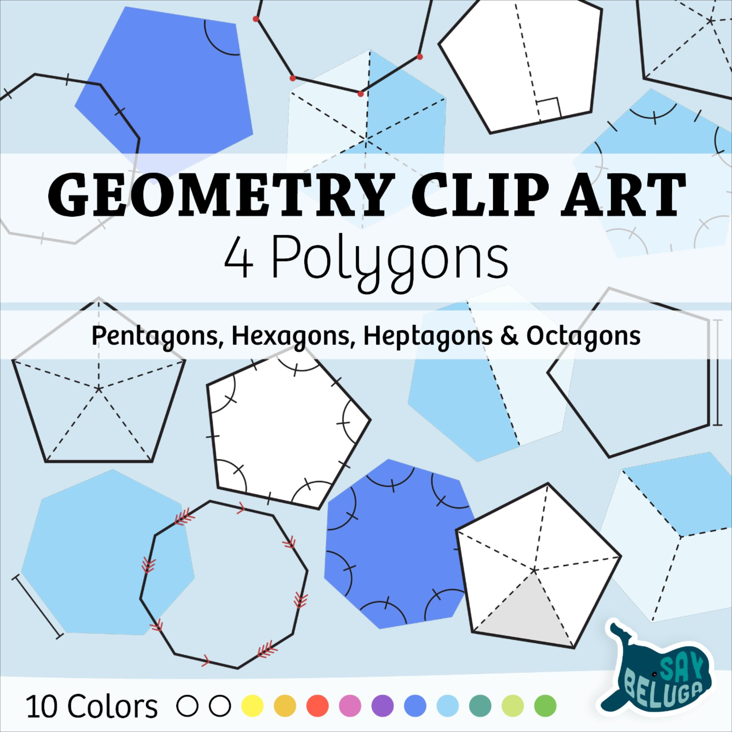 Geometry Clip Art 4 Polygons 10 Colors