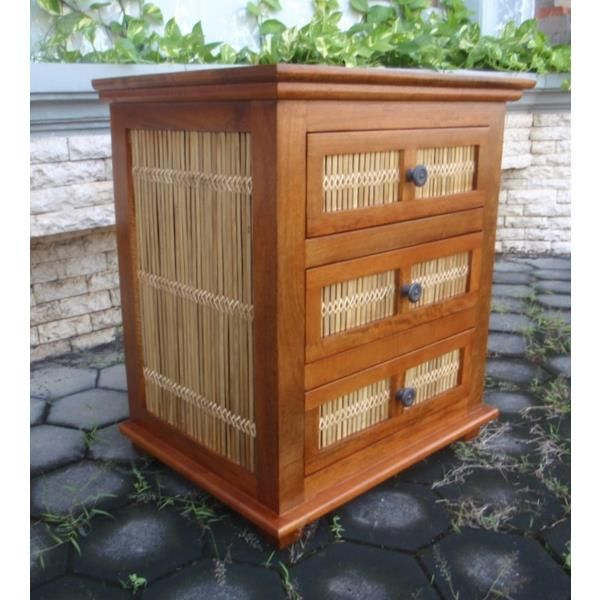 Matchstick 3 Drawer Wide Nightstand Mango Wood At ...